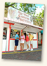 people at conch fritter stand in Mallory Square