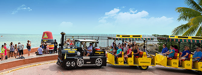 Image of Conch Tour Train driving past southernmost point