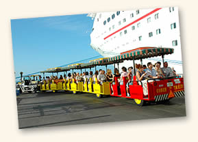 Conch Tour Train in front of cruise ship