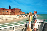 couple looking at Fort Jefferson in Dry Tortugas