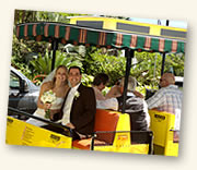 wedding couple riding the conch tour train
